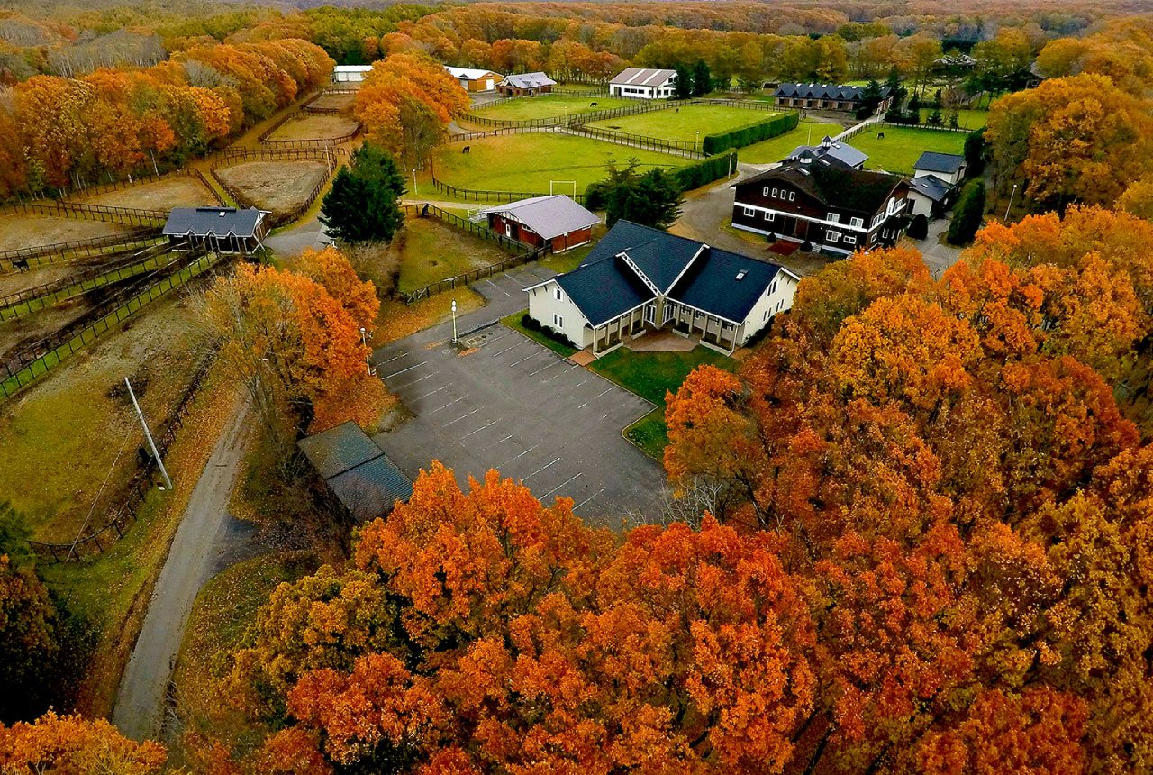 Bird's eye view of the Shadai Stallion Station